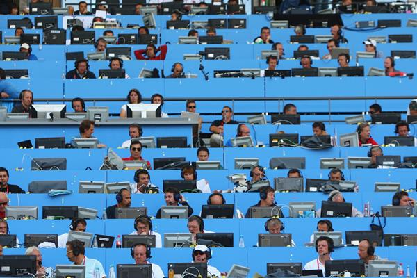 Media tribune at an IAAF World Championships (Getty Images)