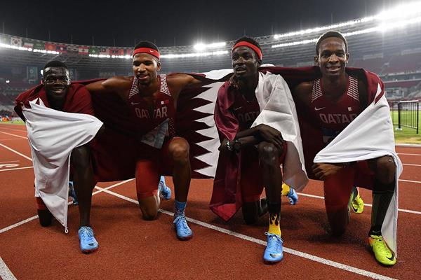 Qatar's 4x400m team after winning at the Asian Games (AFP / Getty Images)