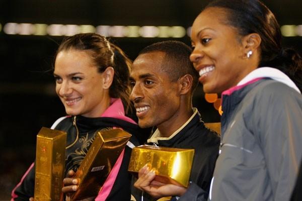 All gold: Yelena Isinbayeva, Kenenisa Bekele and Sanya Richards (Getty Images)