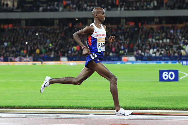 Mo Farah in the 3000m at the IAAF Diamond League meeting in London (Jean-Pierre Durand)