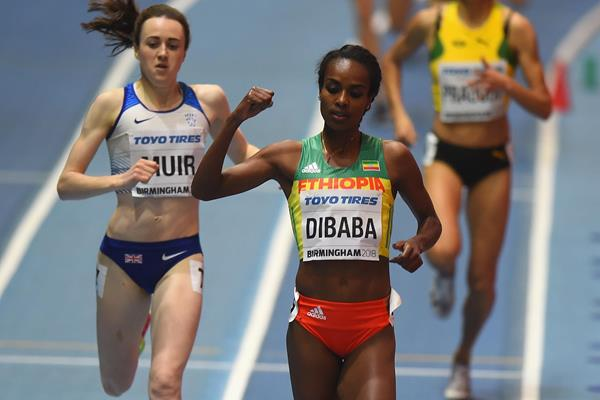Genzebe Dibaba en route to her clear victory in the 1500m heats in Birmingham (Getty Images)