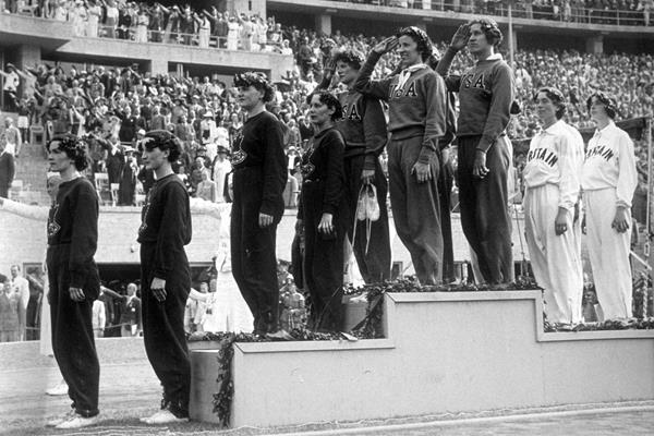 USA's 4x100m quartet on top of the podium at the 1936 Olympic Games (Getty Images)