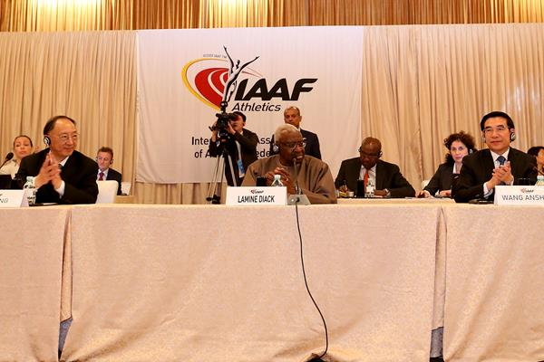Chinese Sports Minister Liu Peng, IAAF President Lamine Diack and Mayor of Beijing Wang Anshun at the 198th IAAF Council Meeting in Beijing (IAAF)