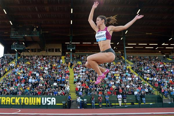 Ivana Spanovic wins the long jump at the IAAF Diamond League meeting in Eugene (Kirby Lee)