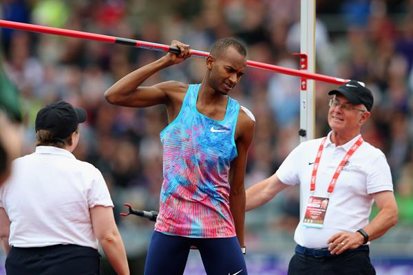 Mutaz Essa Barshim after winning the high jump at the IAAF Diamond League meeting in Birmingham (Getty Images)