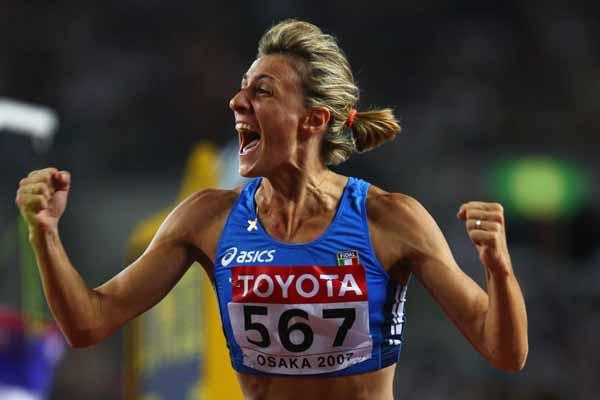 Antonietta Di Martino of Italy celebrates winning the silver medal in the High Jump Final (Getty Images)