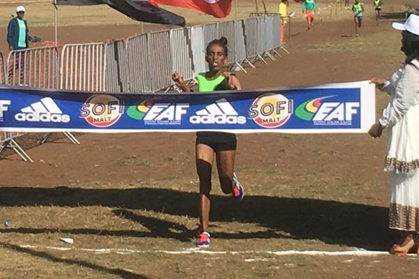 Enatnesh Alamirew winning the Jan Meda international cross country in Addis Ababa (Abiy Wendifraw)