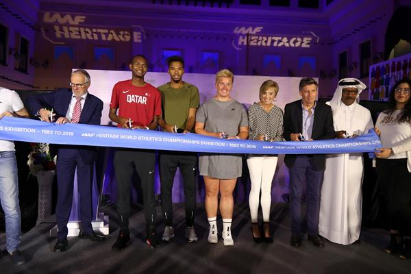 Ribbon-cutting at the IAAF Heritage Exhibition launch in Doha (Karim Jaafar)