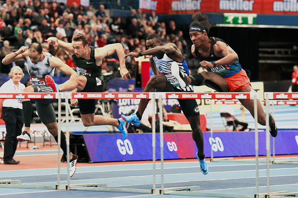 Jarret Eaton (right) in the 60m hurdles at the IAAF World Indoor Tour meeting in Birmingham (Mark Shearman)
