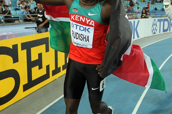 David Lekuta Rudisha of Kenya celebrates claiming gold in the men's 800 metres final (Getty Images)