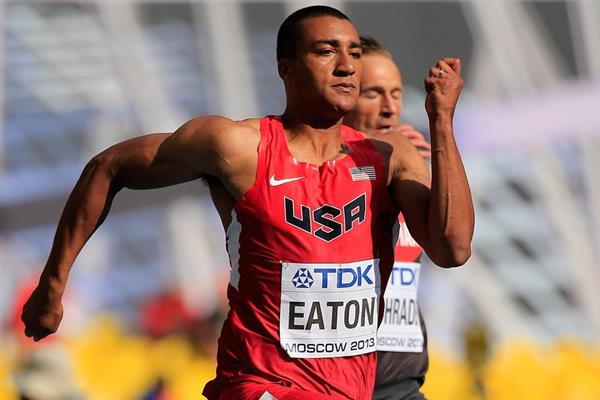 Ashton Eaton in the Decathlon 100m at the 2013 IAAF World Championships in Moscow (Getty Images)