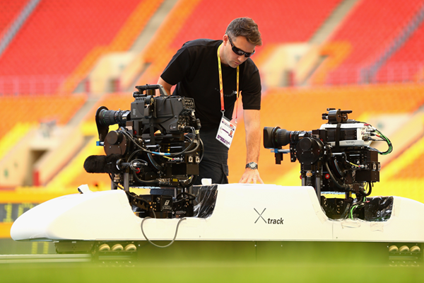 A technician works on broadcast cameras at the IAAF World Championships (Getty Images)
