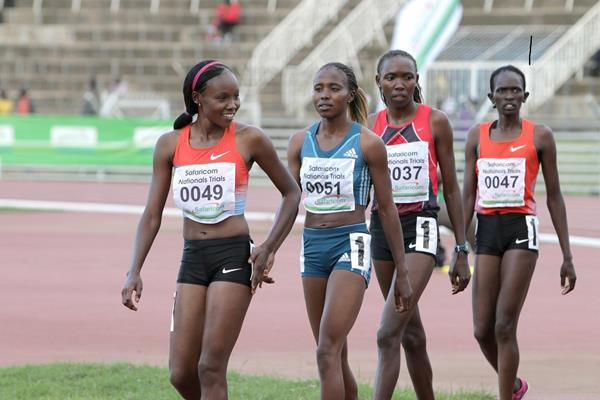 Mercy Cherono, Irene Jelagat, Ann Karindi and Perin Nenkampi at the 2014 Kenyan trials for the IAAF World Relays (David Ogeka@PhotoRun)