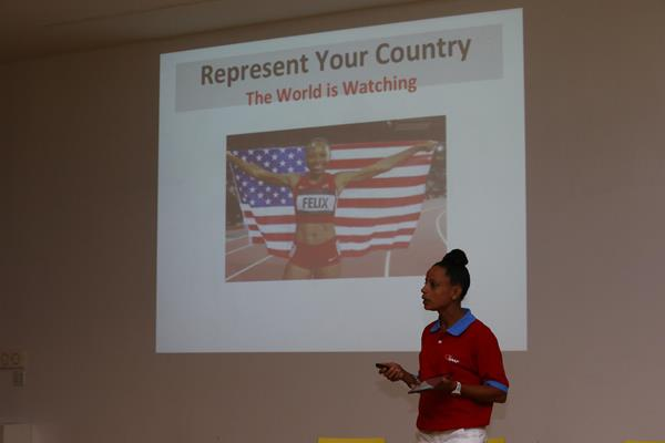 Joanna Hayes addresses the media training seminar in Eugene - 'Making The Most Of My Athletics Career' (Getty Images)