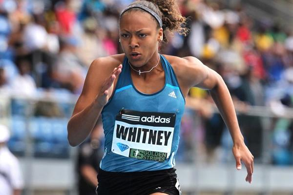 US sprinter Kaylin Whitney on her way to winning the 100m (Victah Sailer)