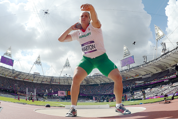 Anita Marton in the shot put at the London 2012 Olympic Games (AFP / Getty Images)