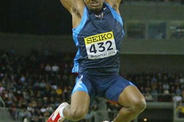 Savante Stringfellow (USA) winning the World indoor Long Jump title (Getty Images)