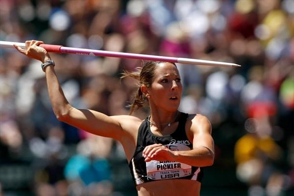 Diana Pickler on the way to the US Heptathlon title in Eugene (Getty Images)