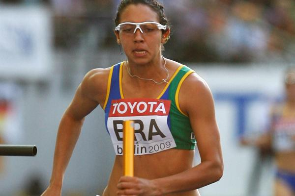 Brazil's Vanda Gomes secures an automatic qualification for the women's 4x100m final in Berlin (Getty Images)