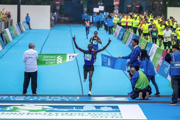 Kenneth Mungara wins the Hong Kong Marathon (Organisers)