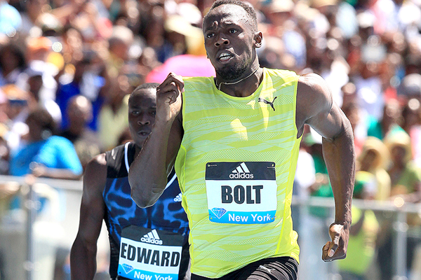 Usain Bolt on his way to winning the 200m at the IAAF Diamond League meeting in New York (Victah Sailer)