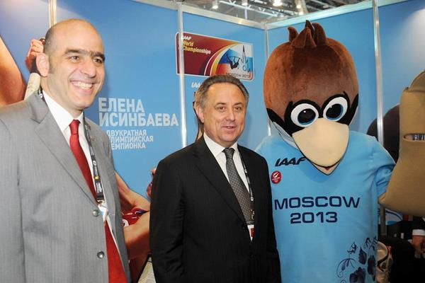 IAAF General Secretary Essar Gabriel and Russian Minister of Sport Vitaly Mutko with the Moscow 2013 mascot (Organisers)