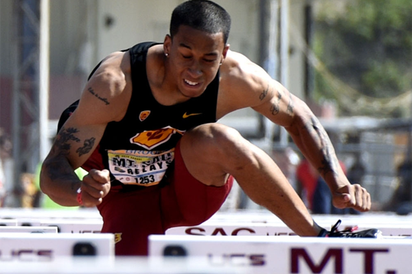 Aleec Harris wins the 110m hurdles at the Mt SAC Relays (Randy Miyazaki)