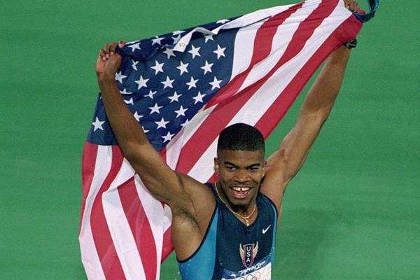 Terence Trammell after winning the 110m hurdles silver medal at the 2000 Olympic Games (Getty Images)