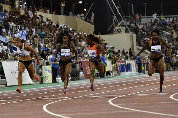 Marie-Josee Ta Lou wins the 100m at the IAAF Diamond League meeting in Doha (Hasse Sjogren)