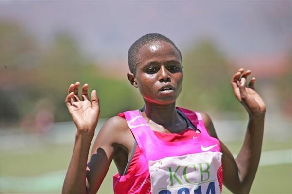 Margaret Wangari en route to a solid victory in Machakos in 2009 (Elias Makori)