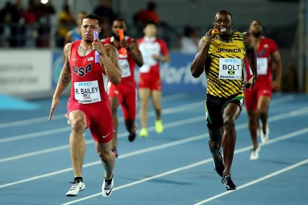 USA's Ryan Bailey and Jamaica's Usain Bolt in the 4x100m final at the IAAF/BTC World Relays, Bahamas 2015 (Getty Images)