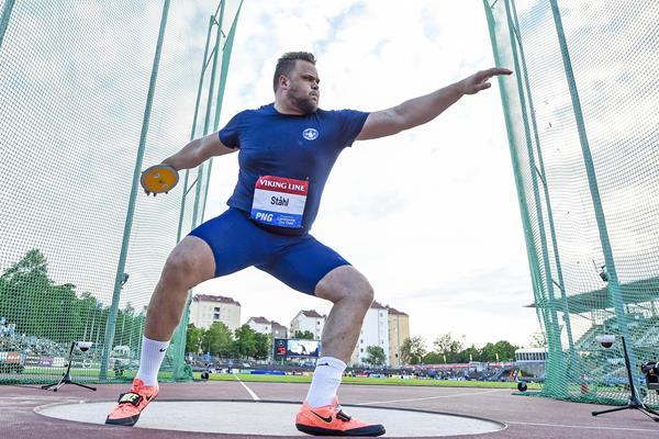 Daniel Stahl in action in the discus in Turku (Deca Text & Bild)