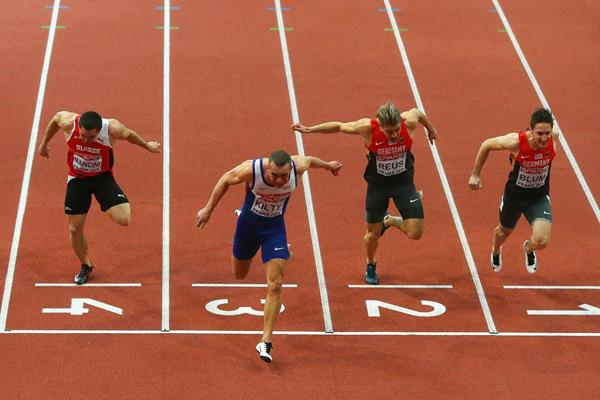 Richard Kilty wins the 60m at the European Indoor Championships (Getty Images)