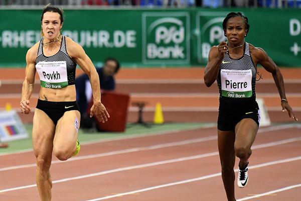 Olesya Povkh on her way to winning the 60m at the IAAF World Indoor Tour Meeting in Dusseldorf (Gladys Chai von der Laage)