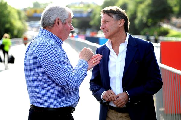 IAAF President Sebastian Coe with Brendan Foster prior to the 2016 Great North Run (Mark Shearman)