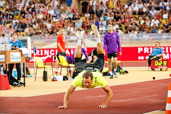 Tero Pitkamaki, winner of the javelin at the IAAF Diamond League meeting in Monaco (Philippe Fitte)