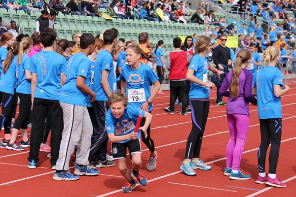 Norwegian school children in action at the Bislett Stadium in Oslo for the 2014 TINEstafetten (Norwegian athletics federation)