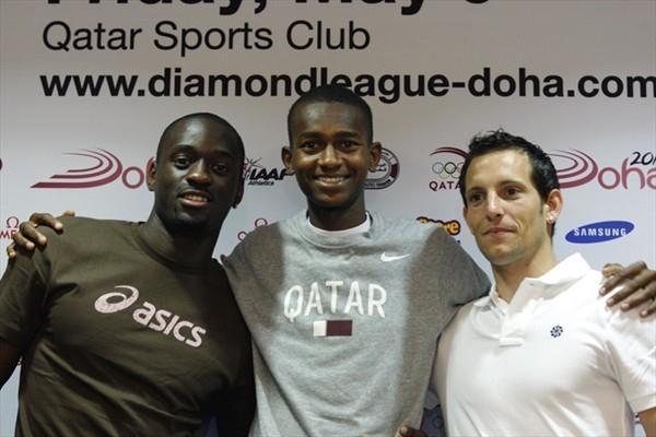 Teddy Tamgho, Mutaz Essa Barshim and Renaud Lavillenie on the eve of the Samsung Diamond League Doha (Bob Ramsak)