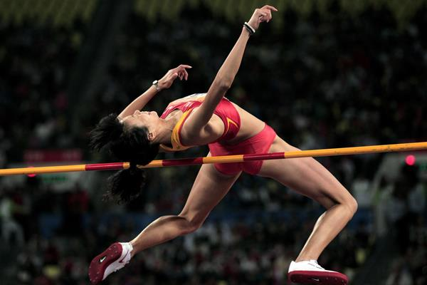 China's Zheng Xingjuan in action in the high jump (Getty Images)