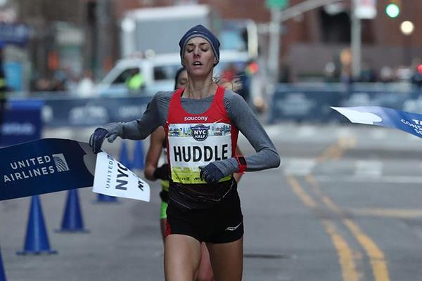 Molly Huddle winning the New York City Half Marathon (organisers)