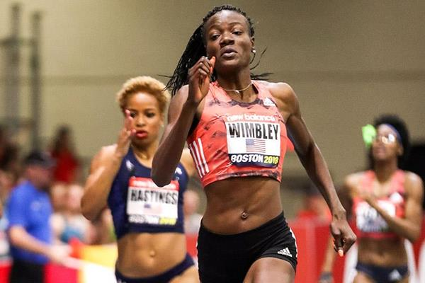 Shakima Wimbley wins the 400m at the IAAF World Indoor Tour meeting in Boston (PhotoRun)