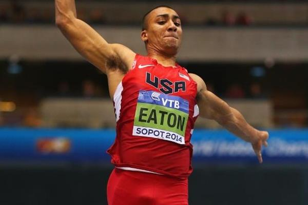 Ashton Eaton in the heptathlon long jump 2014 IAAF World Indoor Championships in Sopot (Getty Images)
