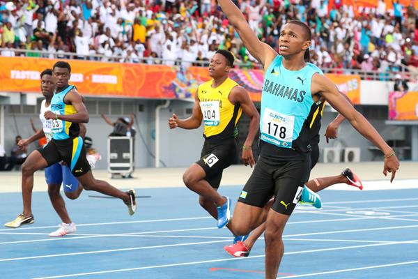 Joel Johnson at the 2018 Carifta Games (Leo Hudson)