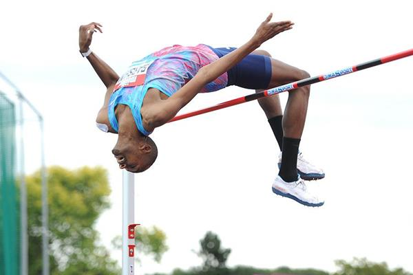 Mutaz Essa Barshim in the high jump at the IAAF Diamond League meeting in Birmingham (Mark Shearman)