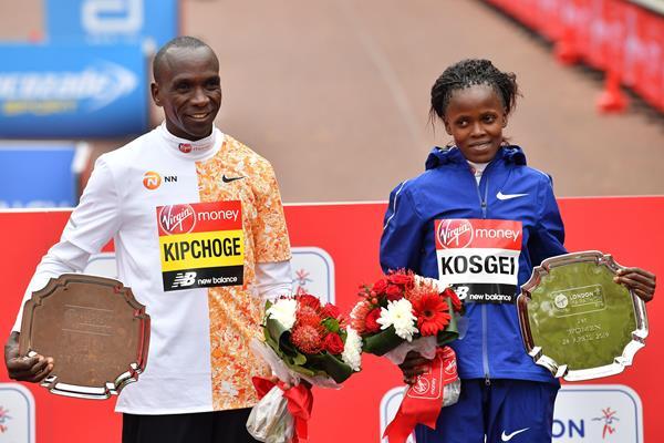 London Marathon winners Eliud Kipchoge and Brigid Kosgei (AFP / Getty Images)