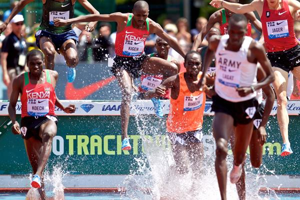 Benjamin Kigen (centre), the eventual winner of the steeplechase at the IAAF Diamond League meeting in Eugene (Getty Images)