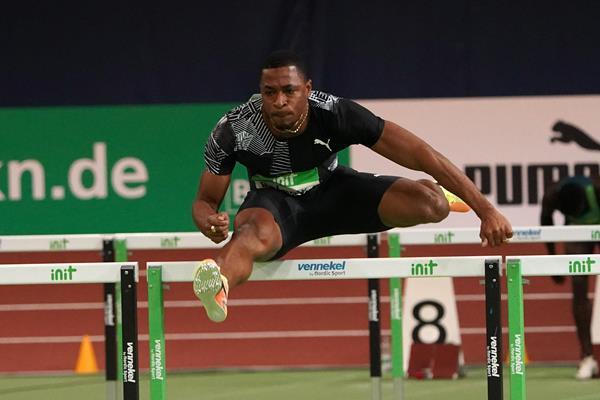 Wilhem Belocian in the 60m hurdles at the World Athletics Indoor Tour meeting in Karlsruhe (Gladys Chai von der Laage)