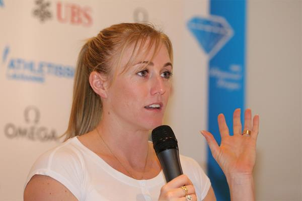 Sally Pearson at the press conference for the 2013 Lausanne Diamond League (Gladys Chai)