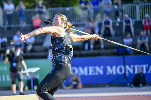 Christin Hussong in action in the javelin at the Continental Tour Gold meeting in Turku (Deca Text & Bild)