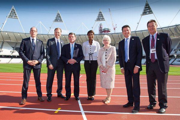 The London 2017 World Championships bid team, from left: UK Athletics CEO Niels de Vos, bid Chairman Ed Warner, Minister of Sport Hugh Robertson, Denise Lewis, Baroness Margaret Ford, Lord Sebastian Coe and UK Athletics President Lynn Davies (onEdition)